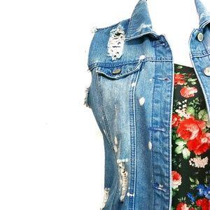 Distressed Denim Jean Jacket Destroyed Size Medium